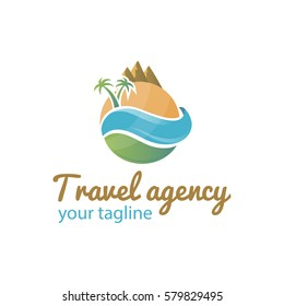 Vector logo template for travel agency. Illustration of the globe with palm trees sea and mountains.