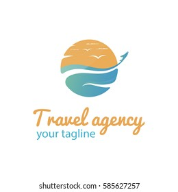 Vector logo template for travel agency. Illustration of sea, gulls in the sky and the airplane flying away. Creative logotype. EPS10.