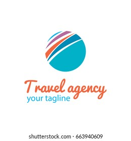 Vector logo template for travel agency. Abstract illustration of the globe. Circle logo. Sign of Earth. EPS10. Creative logotype for unusual travels. Touristic label.