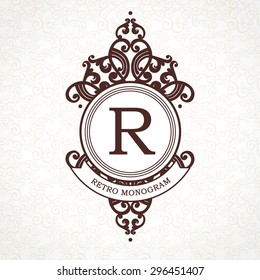 Vector logo template in Victorian style. Ornate element for design. Place for company name and slogan. Ornament floral vignette for business card, wedding invitations, certificate, business sign.