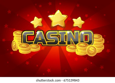 Vector logo text casino and gold coins, For Ui Game element. Red background glow