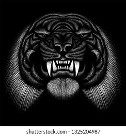 The Vector logo tiger for tattoo or T-shirt design or outwear.  Hunting style tigers background.