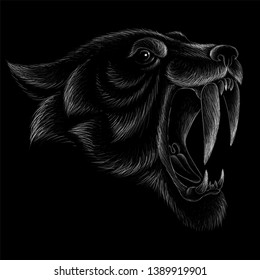 The Vector logo tiger for tattoo or T-shirt design print or outwear.  Hunting style tigers print on black background.