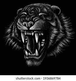 The Vector logo tiger for tattoo or T-shirt design or outwear.  Hunting style big cat print on black background. This hand drawing is for black fabric or canvas.
