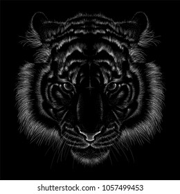 The Vector logo tiger for T-shirt design or outwear.  Hunting style wolf background.