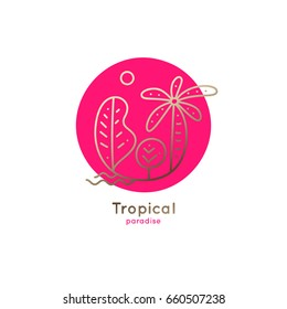 Vector logo of tropical forest with sun on red circle background. Linear emblem of palm and trees for design of business, holiday, travel agency, ecology concept, tourism, spa and yoga Center.
