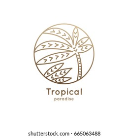 Vector logo of tropical leafs in circle. Palm leaf linear emblem for design of business, holiday, travel agency, ecology and resort concept, tourism, spa and natural cosmetics.