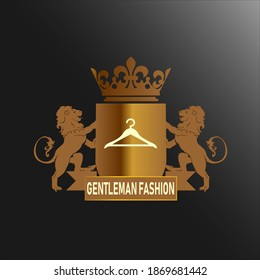 A vector logo with two lions and a banner that is perfect for a fashion brand logo
