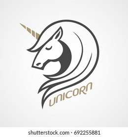Vector logo with unicorn head in side view. Eps8. RGB. Global color