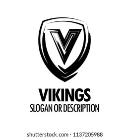 Vector Logo with Vikings Medieval Shield isolated on white background. Style Emblem with Caption for Protection, Security or Sport company