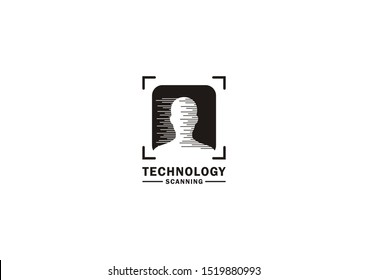 Vector logo visualization of scanning or detecting someone's ID