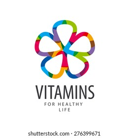 vector logo vitamins colorful flower