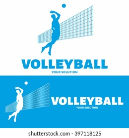Vector logo volleyball. Bouncing a volleyball player hits a ball over a volleyball net