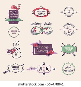 Vector logo for wedding agency and studio. Ceremony for just married.
