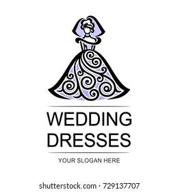Vector logo - wedding dresses. Illustration with bride in openwork dress.