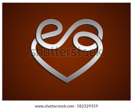 Vector Logo Which Combines Sign Heart Stock Vector Royalty Free
