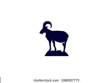 Vector Logo Of Wild Ram Silhouette On Mountain