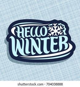 Vector logo for Winter season: christmas logo with snowflake on blue geometric texture, decorative handwritten hipster font for quote hello winter, hand lettering type for calligraphic winter sign.