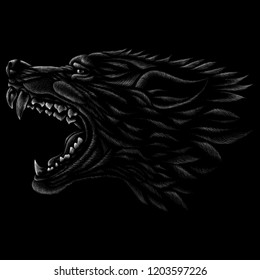 The Vector logo wolf or dog for T-shirt design or outwear.  Hunting style wolf or dog background.