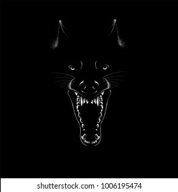 The Vector logo wolf for T-shirt design or print for outwear.  Hunting style wolf background.