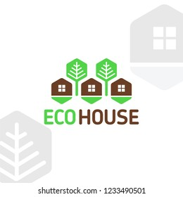 Vector logo wood eco house modular elements honeycombs rest nature forest trees