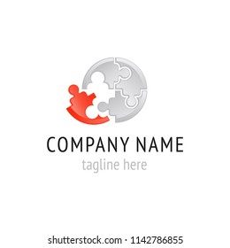 Vector logo for working team, community or hr-company in form of puzzle fragments and people silhouette