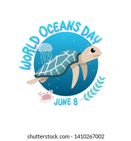 vector of logo for world ocean day with turtle swim in the sea with jellyfish and crab in circle.  world ocean day on June 8 for celebration dedicated to help protect, and conserve world oceans, water