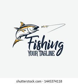 vector logo yellow fin dog tooth tuna fishing