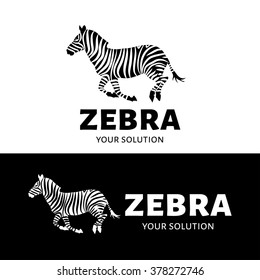 Vector logo Zebra. Brand logo in the form of a prancing Zebra