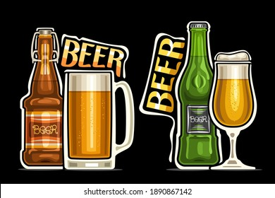 Vector logos for Beer, outline illustrations of brown and green bottles with decorative labels, full mug and glass of beer with froth, unique design lettering for orange words beer on dark background.