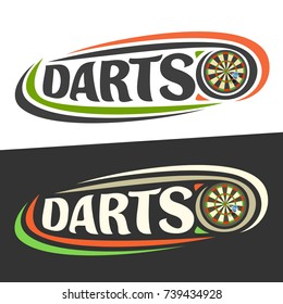 Vector logos for Darts game, arrow in bullseye on board and handwritten word - darts on black, curved lines around original typography for text - darts on white background, sports drawn decoration.