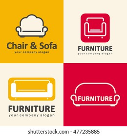 Vector logos for furniture store. Sofa and chair icons