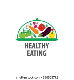 Vector logos healthy food, a dish of vegetables