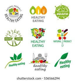 Vector logos healthy food, natural product, on a white background