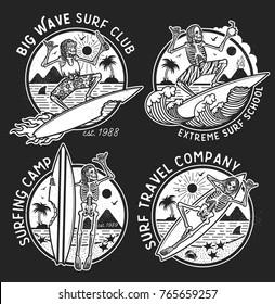 Vector Logos Illustration with Skeleton Surfers. Set of Vintage Surfing Emblems for web design or print. Surfer logo templates. Surf Badge. Surfboard elements.
