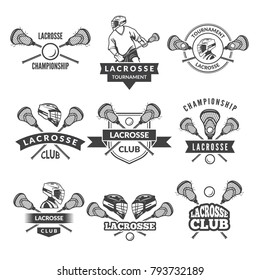 Vector logos or labels for lacrosse team in sport college. Illustration of lacrosse badge team club