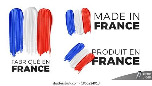 """Vector logos on white background : """"Fabriqué en France"""", """"Made in France"""", """"Produit en France"""""""