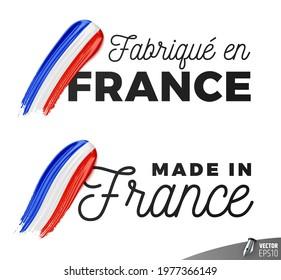 "Vector logos on white background : ""Fabriqué en France"", ""Made in France"""