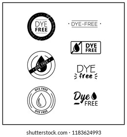 Vector logos for products. Icons dye free for product packaging. Dye-free drawn isolated sign icon set. Product labels.