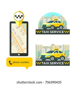 Vector logos taxi service. Mobile app taxi. Taxi service. Set of icons for mobile app.