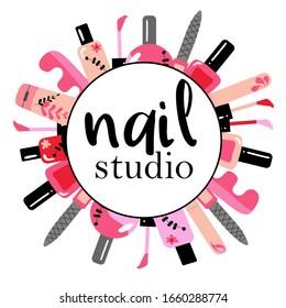 Vector logotype design for nail salon, studio, bar, spa, boutique. Nail art labels with sample text. Set of nail salon logo templates.