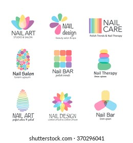 Vector logotype design for nail salon, studio, bar, spa, boutique. Nail art labels with sample text.  Set of nail salon logo templates.