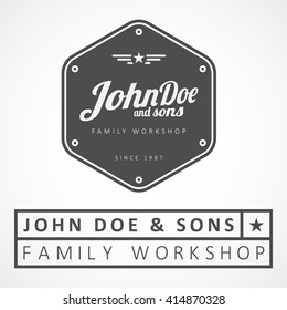 "Vector logotype. Example: ""John Doe & sons"", perfect quality, premium brand."