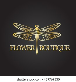 18306847300b32 Vector logotype for flower shop, boutique, store, jewelry. Gradient  beautiful elegant dragonfly