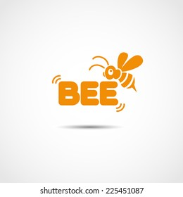 vector logotype with flying bee