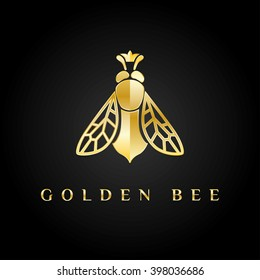Vector logotype. Golden bee queen logo with the crown on its head. Great logotype for food company, jewelry shop, bijouterie, education, delivery etc.