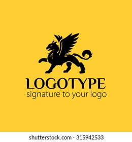 Vector logotype or illustration griffin on yellow background