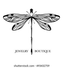 2ed0aeb0ce94d4 Vector logotype for jewelry boutique, store, shop. Elegant dragonfly  silhouette at white background