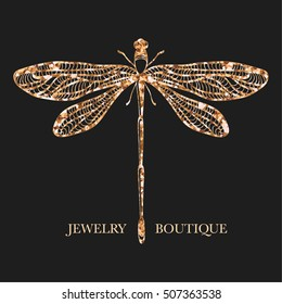 19d83b9cac7238 Vector logotype for jewelry boutique, store, shop. Elegant glittering  dragonfly silhouette at black