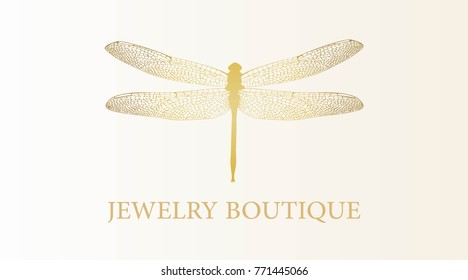Vector logotype for jewelry boutique, store, shop. Elegant gold dragonfly silhouette at white background. Outline of dragonfly. Can be used for postcard, print, logo, poster, label.